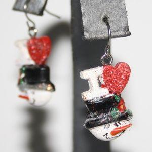 I LOVE SNOWMEN Earrings Christmas Jewelry